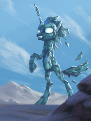 Size: 1440x1920 | Tagged: safe, artist:amarthgul, pony, ice, rearing, solo