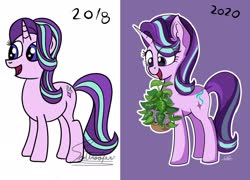 Size: 1920x1383 | Tagged: safe, artist:sadtrooper, phyllis, starlight glimmer, pony, unicorn, a horse shoe-in, 2018 vs 2020, comparison, cute, draw this again, eye clipping through hair, female, glimmerbetes, high res, mare, open mouth, plant, purple background, redraw, simple background, smiling, solo
