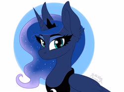 Size: 3500x2600 | Tagged: safe, artist:princesslunka10, princess luna, alicorn, pony, abstract background, bust, circle background, crown, cute, ear fluff, female, high res, jewelry, looking at you, lunabetes, mare, portrait, regalia, solo