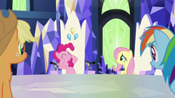 Size: 1920x1080 | Tagged: safe, screencap, applejack, fluttershy, pinkie pie, rainbow dash, the last laugh, spoiler:s09e14, cutie map