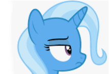 Size: 214x145 | Tagged: safe, artist:dashiesparkle, edit, editor:silverstreamfan999, trixie, pony, unicorn, cropped, emoji, emotes, frown, head only, not happy, profile, raised eyebrow
