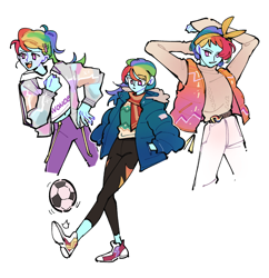 Size: 1890x1955 | Tagged: safe, artist:dusty-munji, rainbow dash, equestria girls, clothes, converse, cute, dashabetes, female, football, hands in pockets, hoodie, jacket, open mouth, ponytail, scarf, shoes, simple background, solo, sports, sweater, triality, turtleneck, vest, white background