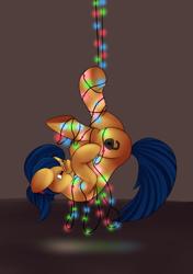 Size: 1200x1700 | Tagged: safe, artist:einboph, oc, oc:soft step, earth pony, christmas, christmas lights, holiday, upside down