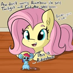 Size: 1080x1080 | Tagged: safe, artist:tjpones, fluttershy, rainbow dash, mouse, pegasus, pony, belly button, dialogue, female, implied twilight sparkle, mare, rainbow mouse, size difference, smoldash, species swap, transformation