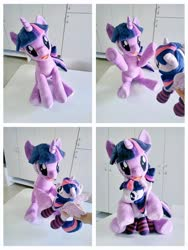 Size: 768x1024 | Tagged: safe, artist:nekokevin, twilight sparkle, alicorn, human, pony, unicorn, 4de, clothes, duo, female, hand, hooves in air, hug, irl, irl human, looking at you, mare, offscreen character, open mouth, photo, plushie, raised hoof, self ponidox, sitting, size difference, socks, striped socks, twilight sparkle (alicorn), underhoof, unicorn twilight