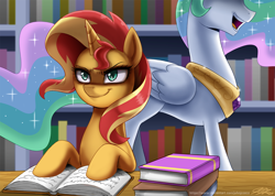 Size: 1400x997 | Tagged: safe, artist:johnjoseco, princess celestia, sunset shimmer, alicorn, pony, unicorn, spoiler:comicannual2013, bad girl, book, bookshelf, evil, evil smirk, library, open mouth, pure unfiltered evil, scheming, smiling