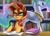 Size: 1400x997 | Tagged: safe, artist:johnjoseco, princess celestia, sunset shimmer, alicorn, pony, unicorn, spoiler:comicannual2013, bad girl, book, bookshelf, evil, evil smirk, library, open mouth, pure unfiltered evil, scheming, smiling