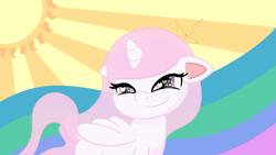 Size: 5120x2880   Tagged: safe, alternate version, artist:poniidesu, princess celestia, alicorn, pony, my little pony: pony life, cewestia, cute, dock, eyelashes, female, filly, heart eyes, horn, pink eyes, pink-mane celestia, smiling, solo, sun, wallpaper, white fur, wingding eyes, wings, younger
