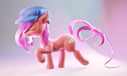 Size: 2000x1200 | Tagged: safe, artist:mortarroad, oc, oc only, earth pony, pony, blender, blender eevee, curly tail, eyes closed, female, hat, hirosashii, letter, mouth hold, raised hoof, raised tail, side view, simple background, solo, tail, walking, white background