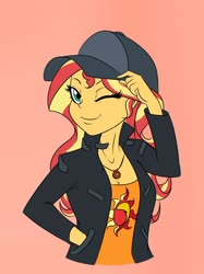 Size: 1280x1707 | Tagged: safe, artist:albertbm, sunset shimmer, display of affection, equestria girls, equestria girls series, spoiler:eqg series, cap, cutie mark on clothes, female, flanksy, geode of empathy, hand in pocket, hat, magical geodes, one eye closed, smiling, solo, wink