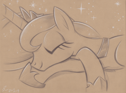 Size: 4440x3284 | Tagged: safe, artist:flutterstormreturns, princess luna, absurd resolution, brown background, bust, crossed hooves, crown, cute, hoof shoes, jewelry, lunabetes, regalia, signature, simple background, sleeping, smiling, solo, stars, traditional art