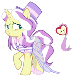 Size: 1765x1836 | Tagged: safe, artist:tersisa, oc, pony, bowtie, clothes, female, hat, mare, offspring, parent:flim, parent:lily lace, see-through, see-through skirt, simple background, skirt, solo, top hat, transparent background