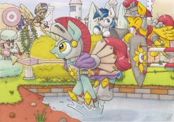 Size: 4670x3295 | Tagged: safe, artist:xeviousgreenii, flash magnus, shining armor, oc, oc:cerise breeze, oc:diskette drives, oc:ginger mint, pony, unicorn, armor, arrow, bow (weapon), bow and arrow, magic, megaphone, obstacle course, royal guard, shield, spear, traditional art, weapon