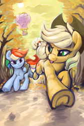 Size: 3000x4500 | Tagged: safe, artist:dimfann, applejack, pinkie pie, rainbow dash, spike, twilight sparkle, dragon, earth pony, pegasus, pony, series:pony re-watch, fall weather friends, :p, airship, applejack's hat, bound wings, cowboy hat, cutie mark, female, freckles, frog (hoof), hat, looking at each other, mare, megaphone, running, running of the leaves, smiling, tongue out, tree, underhoof, wings
