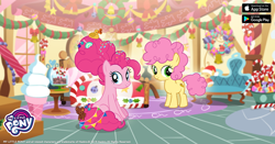 Size: 960x504 | Tagged: safe, li'l cheese, pinkie pie, earth pony, pony, the last problem, spoiler:s09e26, candy, christmas, cute, diapinkes, duo, facebook, food, gameloft, holiday, looking at you, my little pony logo, ribbon, sugarcube corner