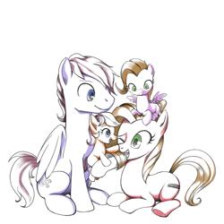 Size: 1600x1600 | Tagged: safe, artist:gashiboka, oc, oc only, oc:pun, earth pony, pegasus, pony, ask pun, ask, boop, colt, family, female, filly, male, mare, offspring, parent:oc:pun, parents:oc x oc, pony hat, prone, simple background, sitting, smiling, stallion, white background