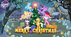Size: 960x504 | Tagged: safe, applejack, fluttershy, pinkie pie, rainbow dash, rarity, twilight sparkle, alicorn, earth pony, pegasus, pony, unicorn, beard, christianity, christmas, christmas lights, christmas tree, facebook, facial hair, flying, gameloft, hat, holiday, levitation, magic, mane six, my little pony logo, night, ornament, present, religion, santa hat, silo, snow, stars, telekinesis, text, tree, twilight sparkle (alicorn), windmill, winter
