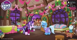 Size: 960x504 | Tagged: safe, starlight glimmer, trixie, pony, unicorn, the last problem, spoiler:s09e26, christmas, christmas lights, christmas wreath, duo, facebook, female, gameloft, holiday, mare, my little pony logo, older, older starlight glimmer, older trixie, present, ribbon, wreath
