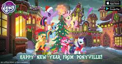 Size: 960x504 | Tagged: safe, applejack, dumbbell, fluttershy, pinkie pie, rainbow dash, rarity, twilight sparkle, alicorn, earth pony, pegasus, pony, alicornified, bell, bipedal, bunny ears, bunnyshy, christmas, christmas lights, christmas tree, christmas wreath, clothes, elf hat, facebook, flag, flying, gameloft, hat, headband, holiday, mane six, my little pony logo, ornament, present, race swap, raricorn, ribbon, santa hat, scarf, sitting, snow, snowfall, text, tree, twilight sparkle (alicorn), winter, wreath