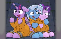 Size: 2548x1647   Tagged: safe, artist:ljdamz1119, starlight glimmer, trixie, twilight sparkle, alicorn, unicorn, bound wings, clothes, commission, horn, horn ring, jail, magic suppression, magical trio, prison, prison outfit, prisoner ts, shackles, twilight sparkle (alicorn), wings