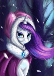 Size: 1189x1668 | Tagged: safe, artist:qbellas, rarity, pony, unicorn, beautiful, clothes, coat, female, mare, snow, snowfall, solo, tree