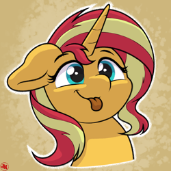 Size: 2160x2160 | Tagged: safe, artist:ljdamz1119, sunset shimmer, pony, unicorn, :p, abstract background, bust, cute, female, floppy ears, high res, mare, shimmerbetes, smiling, solo, tongue out