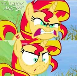 Size: 479x476 | Tagged: safe, edit, edited screencap, screencap, sunset shimmer, pony, unicorn, tanks for the memories, angry, character swap, do i look angry, faic, shrunken pupils