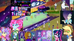 Size: 2048x1152 | Tagged: safe, edit, edited screencap, screencap, adagio dazzle, applejack, aria blaze, cranky doodle donkey, dirk thistleweed, fluttershy, kiwi lollipop, lemon zack, max steele, microchips, oxford brush, pinkie pie, princess celestia, princess luna, princess thunder guts, rainbow dash, rarity, sci-twi, sonata dusk, starlight glimmer, sunset shimmer, supernova zap, twilight sparkle, vignette valencia, dog, equestria girls, equestria girls series, find the magic, how to backstage, inclement leather, lost and pound, mirror magic, rainbow rocks, sunset's backstage pass!, the road less scheduled, the road less scheduled: celestia, the road less scheduled: microchips, spoiler:choose your own ending (season 2), spoiler:eqg series, spoiler:eqg series (season 2), spoiler:eqg specials, background human, clothes, fanfic, fanfic art, fanfic cover, inclement leather: vignette valencia, principal celestia, the dazzlings, vice principal luna