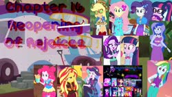 Size: 2048x1152 | Tagged: safe, applejack, fluttershy, pinkie pie, princess celestia, princess luna, rainbow dash, rarity, sci-twi, starlight glimmer, sunset shimmer, twilight sparkle, equestria girls, equestria girls series, mirror magic, sunset's backstage pass!, the road less scheduled, the road less scheduled: celestia, wake up!, spoiler:choose your own ending (season 2), spoiler:eqg series (season 2), spoiler:eqg specials, fanfic, fanfic art, fanfic cover, food, geode of telekinesis, magical geodes, pancakes, principal celestia, vice principal luna, wake up!: applejack