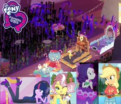 Size: 1788x1536 | Tagged: safe, edit, edited screencap, screencap, applejack, rarity, twilight sparkle, vignette valencia, equestria girls, equestria girls series, legend of everfree, rollercoaster of friendship, the other side, spoiler:eqg series, clothes, dress, fanfic, fanfic art, fanfic cover, female, lesbian, parade, rarijack, shipping