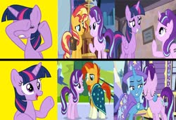 Size: 1280x871 | Tagged: safe, artist:mlpfan3991, edit, edited screencap, screencap, starlight glimmer, sunburst, sunset shimmer, trixie, twilight sparkle, alicorn, equestria girls, mirror magic, the cutie map, to where and back again, spoiler:eqg specials, female, hotline bling, lesbian, male, meme, shimmerglimmer, shipping, starburst, startrix, straight, trixie's wagon, twilight sparkle (alicorn), twistarlight, wrong aspect ratio