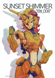 Size: 2893x4092 | Tagged: safe, artist:tt_006, sunset shimmer, equestria girls, armpits, belly button, female, gundam uc, mobile suit gundam, solo, unicorn gundam