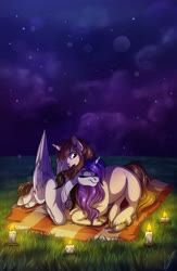 Size: 2500x3840 | Tagged: safe, artist:lupiarts, oc, oc only, pony, blanket, candle, commission, cuddling, cute, digital art, female, grass, love, male, mare, night, nightsky, romance, romantic, stallion, starry sky