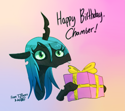 Size: 1335x1188   Tagged: safe, artist:dsp2003, artist:tjpones, queen chrysalis, changeling, changeling queen, birthday gift art, bust, collaboration, cute, female, gradient background, happy birthday, hnnng, hoof hold, missing accessory, portrait, present, signature