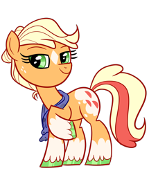 Size: 1172x1284   Tagged: safe, artist:chroniqlo, applejack, earth pony, pony, leak, spoiler:g5, applejack (g5), clothes, colored hooves, g5, multicolored tail, raised hoof, scarf, simple background, solo