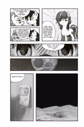 Size: 2000x3000 | Tagged: safe, artist:anonymous, seven seas, pinkie pie, star dancer, oc, oc:nasapone, earth pony, pony, loony luna, my little pony: the manga, /mlp/, 4chan, cute, drawthread, game boy, monochrome, moon, speech bubble, text