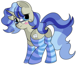 Size: 963x830 | Tagged: safe, artist:rainbowtashie, mayor mare, minuette, oc, oc only, oc:dental authority, earth pony, pony, unicorn, 2020 community collab, derpibooru community collaboration, adorable face, blushing, butt, clothes, commissioner:bigonionbean, cute, cutie mark, dat flank, embarrassed, fusion, fusion:dental authority, glasses, looking back, plot, rear view, seductive pose, simple background, socks, solo, striped socks, sultry pose, transparent background, writer:bigonionbean