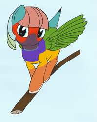 Size: 1939x2431 | Tagged: safe, artist:anonymous, bird, bird pone, pegasus, pony, /mlp/, 4chan, drawthread, ponified, ponified animal photo, solo, stick