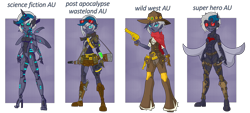 Size: 5370x2428 | Tagged: safe, artist:j053ph-d4n13l, oc, oc only, oc:elizabat sandstorm, oc:elizabat stormfeather, oc:elizabat stormstalker, oc:elizabot, oc:nite-mare, cyborg, robot, equestria girls, alternate hairstyle, alternate universe, amputee, armor, belt, blind eye, boots, bullet, cape, cigar, clothes, commission, cowboy boots, cowboy hat, ear piercing, earring, equestria girls-ified, eye scar, feather, female, gloves, goggles, gun, handgun, hat, holster, jeans, jewelry, jumpsuit, knee pads, knife, pants, piercing, pipboy, pipbuck, pistol, pouch, prosthetic limb, prosthetics, revolver, rifle, scar, scarf, shirt, shoes, shorts, smoking, stockings, suppressor, thigh highs, torn clothes, vest, weapon