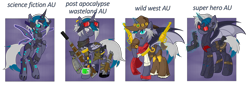 Size: 5370x1828 | Tagged: safe, artist:j053ph-d4n13l, oc, oc only, oc:elizabat sandstorm, oc:elizabat stormfeather, oc:elizabat stormstalker, oc:elizabot, oc:nite-mare, alicorn, bat pony, bat pony alicorn, cyborg, pony, robot, alicorn oc, alternate hairstyle, alternate universe, amputee, armor, bandana, bat pony oc, belt, blind eye, boots, bullet, cigar, clothes, cowboy boots, cowboy hat, cowgirl, dirt, ear piercing, earring, eye scar, feather, female, flying, gloves, glowing horn, goggles, gun, handgun, hat, holster, horn, jewelry, knife, levitation, magic, mare, piercing, pipboy, pipbuck, pistol, pouch, prosthetic limb, prosthetics, raised hoof, revolver, rifle, saddle bag, scar, scarf, shoes, smoking, solo, suppressor, telekinesis, torn wings, wall of tags, weapon, wings
