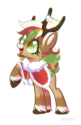 Size: 1024x1587 | Tagged: safe, artist:alina-brony29, artist:wicked-red-art, oc, oc only, oc:olive (reindeer), deer, reindeer, base used, christmas, christmas lights, clothes, coat, commission, cute, deer oc, female, holiday, multicolored hair, open mouth, raised hoof, simple background, solo, transparent background, unshorn fetlocks