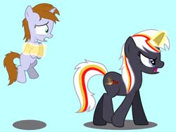 Size: 2048x1536 | Tagged: safe, artist:draymanor57, oc, oc:littlepip, oc:velvet remedy, pony, unicorn, fallout equestria, age regression, description is relevant, female, filly, implied swearing, levitation, magic, story included, telekinesis, transformation