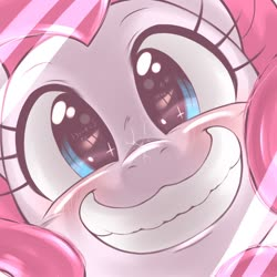 Size: 1536x1536 | Tagged: safe, artist:kurogewapony, pinkie pie, earth pony, pony, blushing, bust, cute, diapinkes, female, grin, looking at you, mare, portrait, smiling, solo