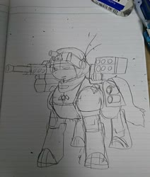 Size: 1080x1276 | Tagged: safe, artist:omegapony16, oc, oc only, oc:oriponi, armor, eraser, gun, helmet, lineart, lined paper, photo, rocket launcher, solo, weapon
