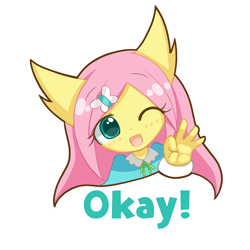 Size: 1000x1000 | Tagged: safe, artist:howxu, fluttershy, anthro, cute, emoji, female, looking at you, one eye closed, reaction image, shyabetes, simple background, solo, transparent background
