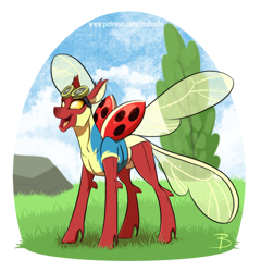 Size: 1514x1578   Tagged: safe, artist:inuhoshi-to-darkpen, oc, oc only, oc:coccinella, changedling, changeling, insect, ladybug, changedling oc, changeling oc, clothes, female, goggles, ladybug changeling, red changeling, simple background, solo, spread wings, transparent background, uniform, wings, wonderbolt trainee uniform