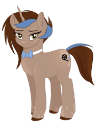 Size: 1200x1500 | Tagged: safe, artist:wikatoria71, oc, oc only, oc:shadow feather, pony, unicorn, 2020 community collab, derpibooru community collaboration, body markings, bowtie, colored hooves, ear piercing, earring, female, freckles, jewelry, looking at you, mare, piercing, simple background, solo, spots, transparent background