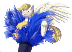 Size: 3424x2480 | Tagged: safe, artist:renka2802, oc, oc:exist, brushie, cute, duster, feather, griffequus, paws, tickling, wings