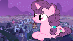 Size: 1915x1075 | Tagged: safe, artist:ambassad0r, artist:dashiesparkle, double diamond, night glider, party favor, sugar belle, pony, female, giant pony, giantess, macro, night, ponyville