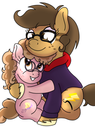 Size: 1200x1600 | Tagged: safe, artist:toyminator900, oc, oc only, oc:binky, oc:cici, hybrid, pegasus, pony, zebra, zony, clothes, duo, female, filly, freckles, hoodie, hug, mare, siblings, simple background, sisters, sitting, smiling, transparent background, unshorn fetlocks